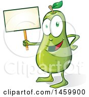 Clipart Of A Cartoon Pear Character Holding A Blank Sign Royalty Free Vector Illustration