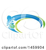 Clipart Of A Tropical Hibiscus Flower And Swoosh Design Royalty Free Vector Illustration by Domenico Condello
