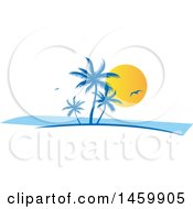 Clipart Of A Tropical Palm Tree Gull And Sunset Design Royalty Free Vector Illustration by Domenico Condello