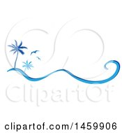 Blue Palm Tree And Seagulls Design With A Wave