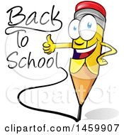 Clipart Of A Cartoon Happy Yellow Pencil Mascot Writing Back To School And Giving A Thumb Up Royalty Free Vector Illustration