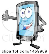 Clipart Of A Cartoon Smart Phone Mascot Giving A Thumb Up Royalty Free Vector Illustration