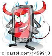 Clipart Of A Cartoon Smart Phone Devil Mascot Royalty Free Vector Illustration by Domenico Condello