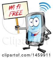 Clipart Of A Cartoon Smart Phone Mascot Holding Up A Free Wifi Sign Royalty Free Vector Illustration by Domenico Condello