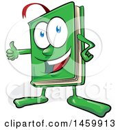 Clipart Of A Cartoon Happy Green Book Mascot Giving A Thumb Up Royalty Free Vector Illustration
