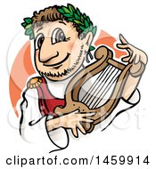 Clipart Of A Cartoon Nero Roman Emperor Holding A Lyre Royalty Free Vector Illustration by Domenico Condello
