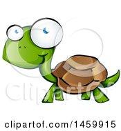 Clipart Of A Cartoon Happy Walking Tortoise Royalty Free Vector Illustration