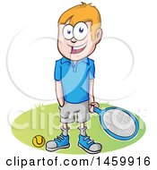 Clipart Of A Cartoon Happy Tennis Player Guy Royalty Free Vector Illustration by Domenico Condello