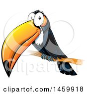 Clipart Of A Cartoon Happy Perched Toucan Bird Royalty Free Vector Illustration
