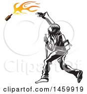 Clipart Of A Black Bloc Rioter Throwing A Bomb Royalty Free Vector Illustration