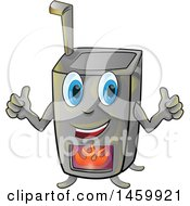 Clipart Of A Cartoon Happy Wood Stove Mascot Royalty Free Vector Illustration