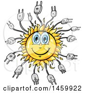 Clipart Of A Cartoon Happy Sun And Plug Mascot Royalty Free Vector Illustration