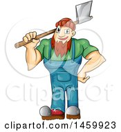 Clipart Of A Cartoon Male Lumberjack Holding An Axe Royalty Free Vector Illustration by Domenico Condello