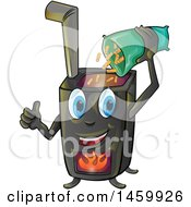 Clipart Of A Cartoon Happy Stove Mascot Pouring In Pellets Royalty Free Vector Illustration