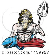 Clipart Of A Shark And Poseidon With A Trident Royalty Free Vector Illustration