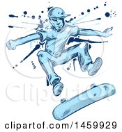 Clipart Of A Sketched Blue Skater Jumping And Flipping His Skateboard Over Grunge Royalty Free Vector Illustration by Domenico Condello