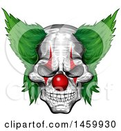 Clipart Of A Sketched Evil Clown Face With A Red Nose And Green Hair Royalty Free Vector Illustration