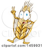 Clipart Of A Cartoon Happy Wheat Mascot Royalty Free Vector Illustration