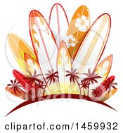 Clipart Of A Red Arch With Palm Trees And Tropical Patterned Surfboards Royalty Free Vector Illustration by Domenico Condello