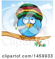 Clipart Of A Cartoon Jamaican Rasta Owl Smoking A Marijuana Joint Royalty Free Vector Illustration by Domenico Condello