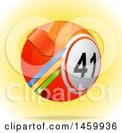 Clipart Of A 3d Bingo Or Lottery Ball With Arrows Royalty Free Vector Illustration by elaineitalia