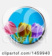 Poster, Art Print Of Blue Circle With 3d Tulips On A Shaded Background