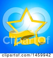 Yellow Star And Ribbon Banner Over A Sunny Blue Sky