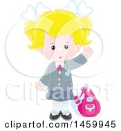 Clipart Of A Blond Caucasian School Girl Waving Royalty Free Vector Illustration
