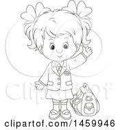 Clipart Of A Black And White School Girl Waving Royalty Free Vector Illustration