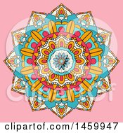 Clipart Of A Colorful Mandala Design On Pink Royalty Free Vector Illustration