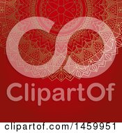 Clipart Of A Gold Mandala Design On Red Royalty Free Vector Illustration