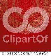 Poster, Art Print Of Gold Mandala Design On Red