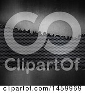 Clipart Of A Perforated Panel And Broken Metal Background Royalty Free Illustration