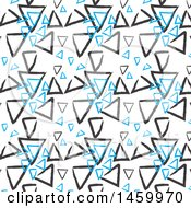 Background Of Sketched Blue And Black Triangles On White