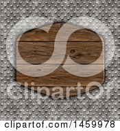 Clipart Of A 3d Wood Plaque Over A Textured Metal Background Royalty Free Illustration by KJ Pargeter