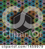 Blank Frame Over A Colorful Geometric Pattern On Black