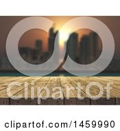 Clipart Of A 3d Wood Table With A Blurred City View At Sunset Royalty Free Illustration