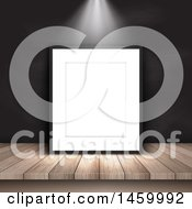 Clipart Of A Light Shining On A 3d Blank Picture Frame Royalty Free Vector Illustration by KJ Pargeter