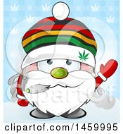Clipart Of A Christmas Santa Claus Waving And Smoking A Doobie Over A Snowflake And Cannabis Leaf Pattern Royalty Free Vector Illustration