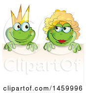 Clipart Of A Cartoon Frog Prince And Princess Over A Sign Royalty Free Vector Illustration by Domenico Condello