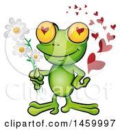 Poster, Art Print Of Romantic Frog With Hearts And Flowers