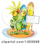Clipart Of A Frog Giving A Thumb Up By A Blank Sign And Surfboards On An Island Royalty Free Vector Illustration by Domenico Condello