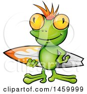 Clipart Of A Surfer Frog Carrying A Board Royalty Free Vector Illustration by Domenico Condello