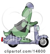 Cool Green Dinosaur Wearing A Vest And Helmet Looking Back Over His Shoulder While Riding A Grey Scooter
