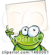 Clipart Of A Cartoon Frog Holding Up A Blank Sign Royalty Free Vector Illustration