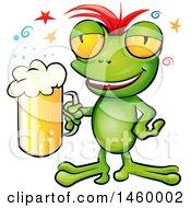 Poster, Art Print Of Drunk Frog Holding A Beer Mug