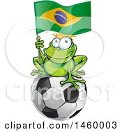 Clipart Of A Frog Holding A Brazilian Flag On Top Of A Soccer Ball Royalty Free Vector Illustration