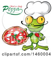 Clipart Of A Cartoon Frog Chef Holding A Pie With Made In Italy Pizza Text Royalty Free Vector Illustration by Domenico Condello