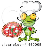 Clipart Of A Cartoon Frog Chef Holding A Pizza Royalty Free Vector Illustration by Domenico Condello