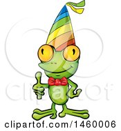 Clipart Of A Happy Frog Wearing A Bowtie And Party Hat While Giving A Thumb Up Royalty Free Vector Illustration by Domenico Condello